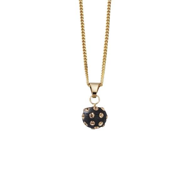 Crystelle - Anhänger mit Kette 42/45cm Kugel schwarz, Swarovski Kristalle weiss