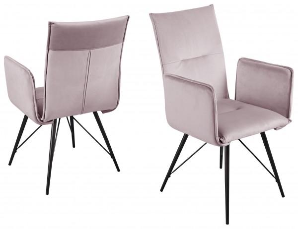 """2er-Set Stuhl """"Luke Pro"""", schwarz/rose, 55 x 99 x 63cm, Armlehne, Küchenstuhl, Esszimmerstuhl, Küche"""