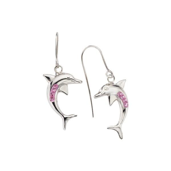 Crystelle - Ohrhänger Delfin Swarovski Kristall rosa