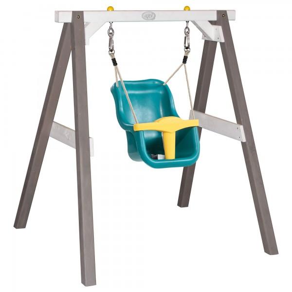 """Babyschaukel """"Arian"""" mit Sitz aus Hemlock-Holz in grau-weiß 103x120x134cm Schaukel"""