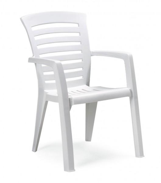 "Stapelsessel ""Roger"" 60x66x89cm Kunststoff weiss Outdoormöbel Sessel Gartensessel"