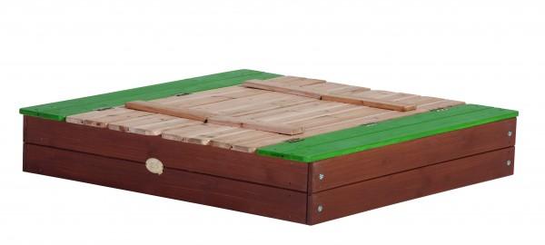 """Sandkasten """"Ulla"""" XL in braun, grün aus Zedernholz 120x120x20cm mit Abdeckung"""
