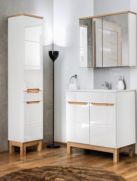 "Badmöbelset ""Perth IV"" Weiß Oak Votan Dekor 3-teilig, Badezimmerset, Badezimmer modern"