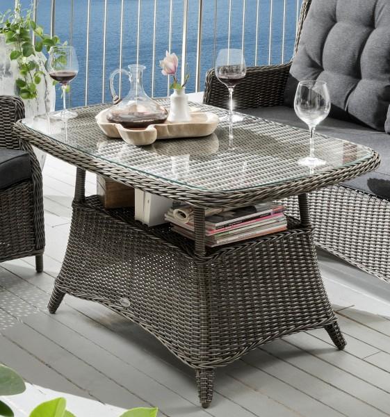 """Sofatisch """"Pearl"""", vintage grau, 120 x 73 x 65 cm, mit Glasplatte, Gartenstisch, Garten, Balkon"""