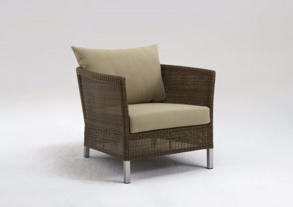 """Sessel """"Irmina"""", braun, 75 x 85 x 63 cm, mit Polster beige, Gartenstuhl, Gartensessel, Garten, Balko"""