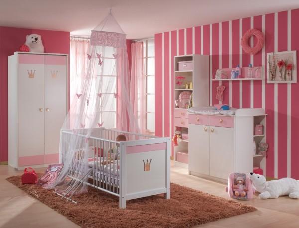 "Babyzimmer ""Little Princes L"" komplett Babyzimmerkombination Wickelkommode Bett Schrank Regal rosa"