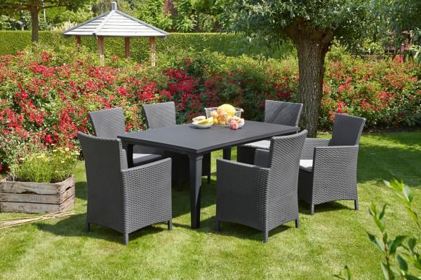 "Gartengruppe ""Zoe"" 7-tlg. graphit/hellgrau Tisch 6xSessel Geflechtoptik Gartenset Dining-Set Garten"