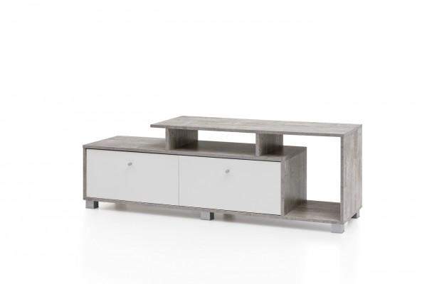 """TV-Lowboard """"Mira II"""" weiß Beton Klapptür 140x37x46,5cm Tv-Board Fernsehtisch Lowboard"""