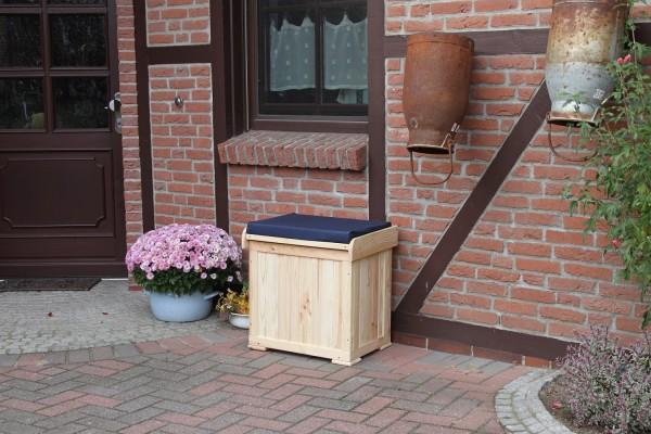 """Kissenbox """"Anna"""", Kiefer, natur/blau, 56x43x56cm, mit Polster, Aufbewahrungsbox, Gartenbox, Garten"""