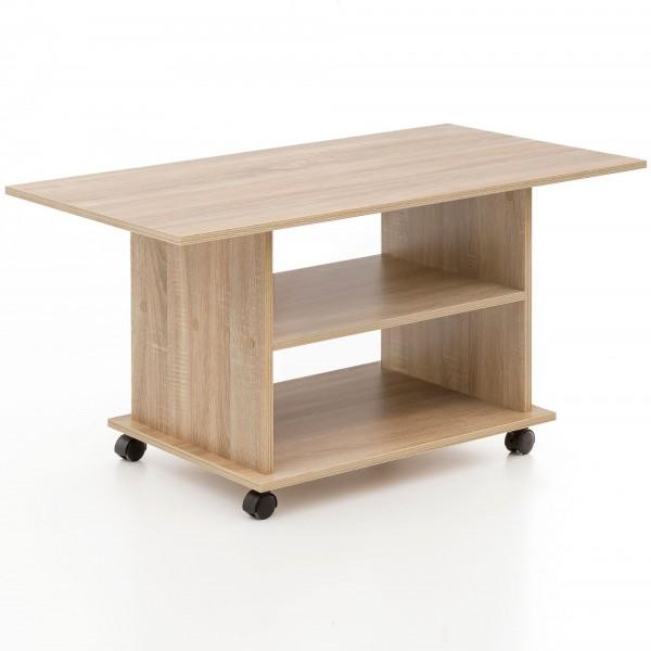 """Couchtisch """"Rina II"""" Sonoma Eiche Holznachbildung auf Rollen 95x51x54,5cm Beistelltisch"""