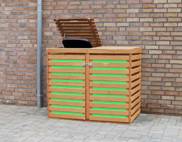 "Doppelmülltonnenbox ""Juna"", honigbraun/grün, 147 x 94 x 120 cm, Mülltonnenbox, Mülltonnenabdeckung"