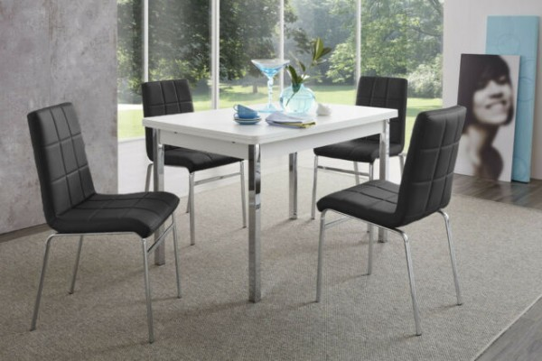 """Tischgruppe Set """"Morgan Island III"""" 4 Stühle schwarz/ Tisch weiss Esstisch-Set Küchentisch"""