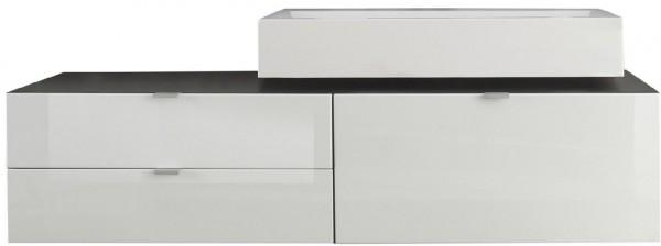 """Waschbeckenunterschrank """"Arwon"""", Schrank mit Waschbecken Grau Hochglanz Weiss MDF 140x49(35)x53cm"""