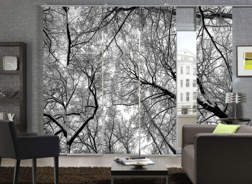 fl chenvorhang 5er set schiebevorhang wood black star ebay. Black Bedroom Furniture Sets. Home Design Ideas