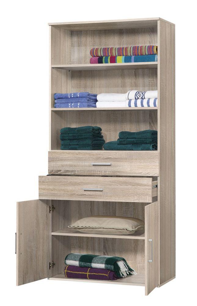regal funktionsschrank nico 3 sonoma eiche viel stauraum 80x178x39cm ebay. Black Bedroom Furniture Sets. Home Design Ideas