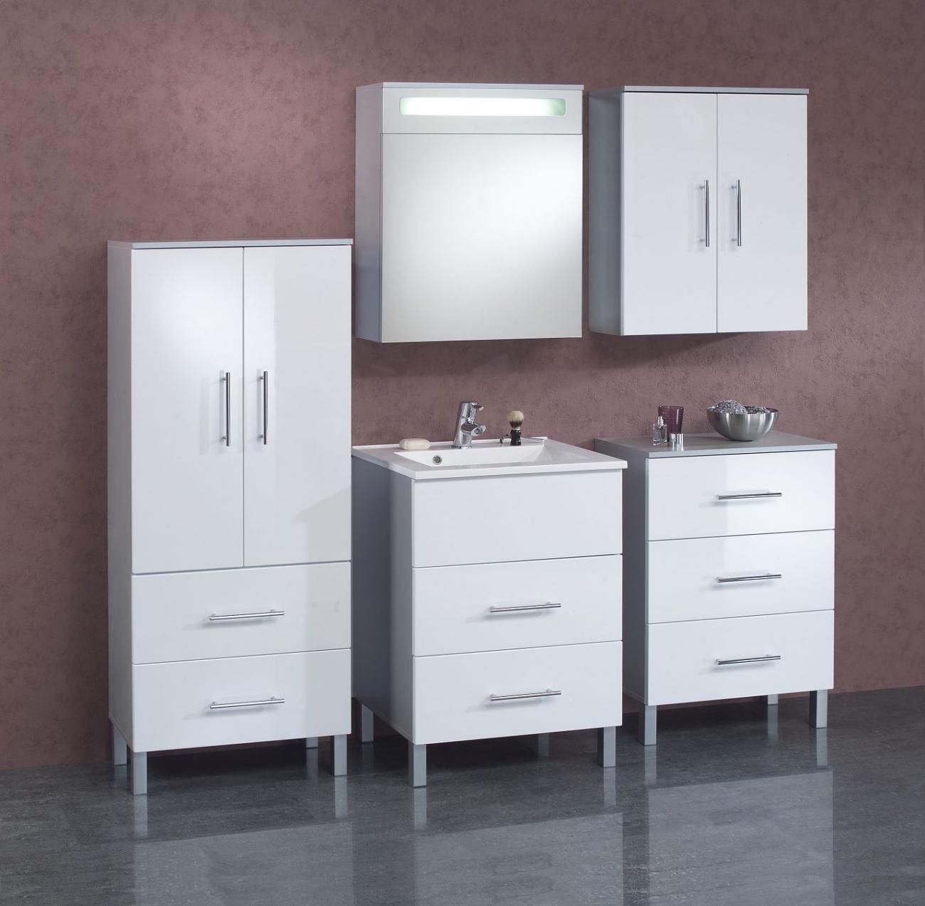 Badezimmerset Badschränke und Spiegelschrank mit Lichtblende ...